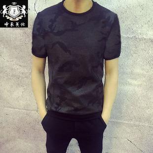 2018夏款个性男装圆领半袖 暗纹迷彩印花潮流韩版修身男士短袖T恤