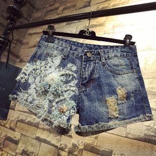 ins超火夏季珍珠花时尚牛仔短裤女士新款显瘦阔腿休闲破洞短裤潮