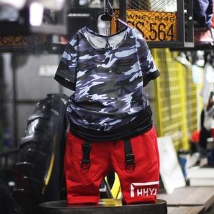 城市秀童装男童迷彩t恤短袖柔软2017夏新款中大童舒适半袖打底衫