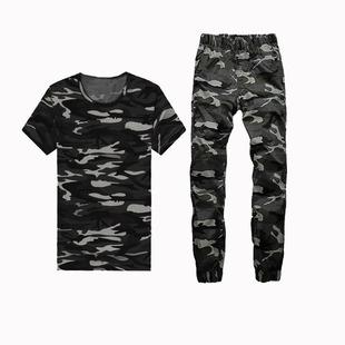 春夏季男士韩版短袖T恤和迷彩裤子一套装潮流修身半袖体恤上衣服