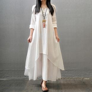 春夏新款大码女装亚麻裙复古文艺范民族风假两件套棉麻打底连衣裙