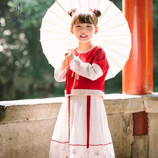 靈錦集女童漢服中國風 2018秋季唐裝改良寶寶連衣裙日常古裝 魚戲