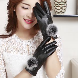 兔毛球皮手套女冬学生可爱韩版全指套女冬加绒加厚保暖手套