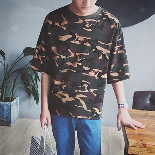 夏季迷彩短袖t恤男韩版潮流学生宽松男士半截袖T桖五分袖小衫衣服