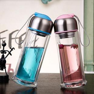 水晶贵族韩国ins玻璃杯双层水杯加厚耐高温 创意女士专享保温杯