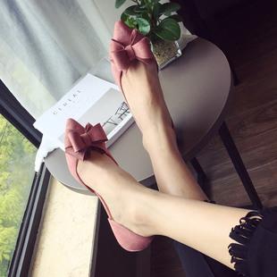 2017韩版粉色甜美蝴蝶结尖头显瘦侧空小低跟单鞋女鞋OL职场鞋大码