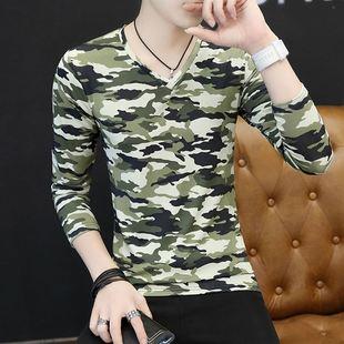 青年迷彩长袖t恤男秋季男装韩版V领薄款上衣服潮男学生打底小衫