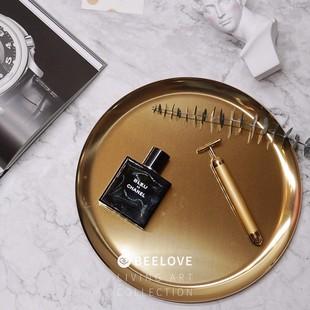 北欧黄铜ins金属金色圆托盘桌面收纳装饰欧式置物盘摆件圆形果盘