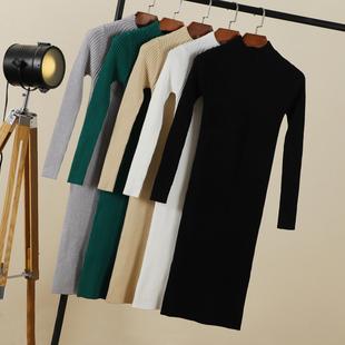 韩版内搭毛衣女连衣裙过膝秋冬装加厚超长款慵懒风套头打底针织衫