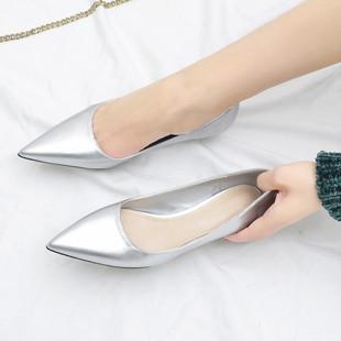 2019新款百搭尖头细跟3cm高跟鞋简约小猫跟鞋低跟浅口银色单鞋女