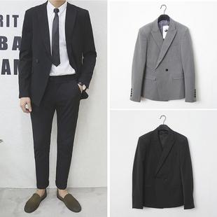 韩国东大门复古英伦风潮男修身小西装外套西服-英伦男士西装双排扣