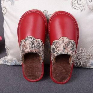 欧式皮拖鞋冬季室内防水家居毛绒拖鞋月子鞋居家居家鞋浅棕色防1