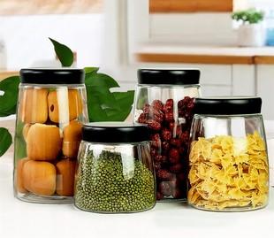 杂粮透明容量中号厨房带盖收纳罐密封罐1斤五谷精致大号玻璃玻璃