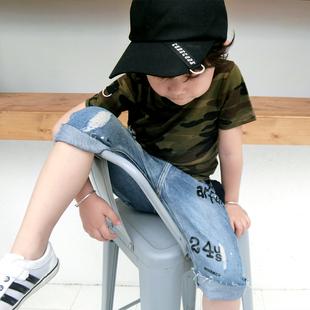 儿童迷彩短袖T恤男童军绿色半袖夏季新款纯棉上衣透气战地服潮