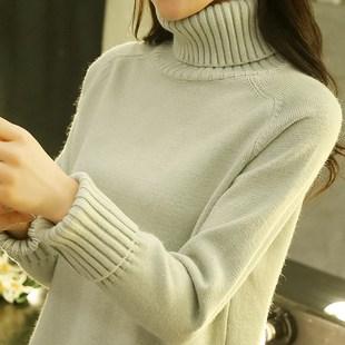 2017秋冬新款半高领套头毛衣女宽松针织打底衫版学生短款加厚潮