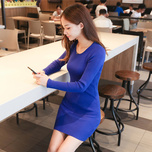 秋季修身内搭显瘦黑色中长款针织打底衫女式加大码包臀长袖毛衣薄