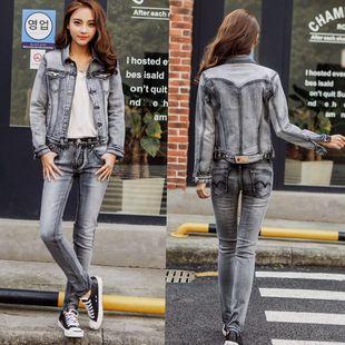 2019春秋牛仔套装女韩版修身显瘦弹力潮流两件套大码流行外套一套