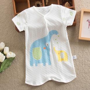 夏季婴儿半袖睡袍睡衣宝宝短袖睡裙1-3儿童半袖睡衣家居睡袍衣服