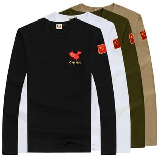 特种兵长袖T恤春秋军装男刺绣中国旗军迷长袖t恤迷彩服战术T恤
