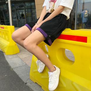 夏季韩国INS原宿BF风百搭复古卷边休闲短裤宽松男女学生五分裤潮