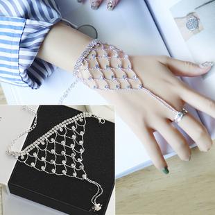 韩国水晶钻连戒指一体手背链手链新娘结婚伴娘首饰表演饰品夸张女