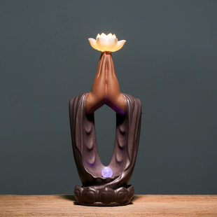 中式禅意创意佛手莲花陶瓷办公室摆件客厅博古架酒柜大号夜灯装饰
