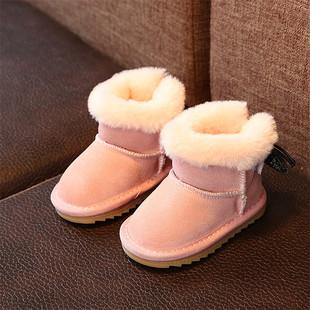 宝宝雪地靴0-1岁软底18个月保暖鞋 真皮加绒蝴蝶结公主学步鞋冬款