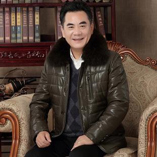 中老年人皮棉衣男中长款加绒加厚羽绒棉服冬季外套中年爸爸皮棉袄