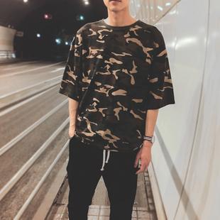 夏季迷彩短袖t恤男韩版潮流学生宽松男士半截袖T桖五分袖潮牌衣服