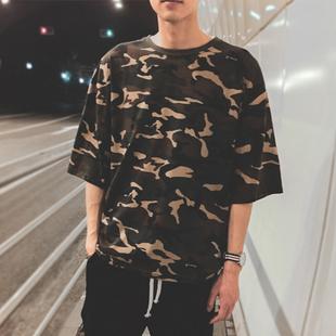 日系男生短袖t恤韩版修身百搭圆领青少年迷彩短袖男半袖打底衫潮