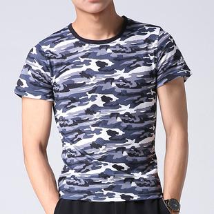 夏季迷彩短袖T恤男修身运动上衣男修身韩版圆领军装半袖迷彩服