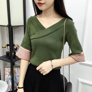 2019春夏季新款V领交叉套头上衣打底衫韩版七分袖百搭针织女毛衣