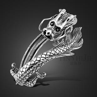 S925泰银复古龙形开口手镯男韩版时尚男生本命年手环霸气纯银首饰