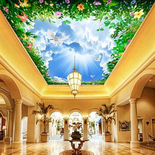 天花板吊顶壁纸自粘墙纸3d立体壁画创意墙贴画贴纸蓝天白云天空星