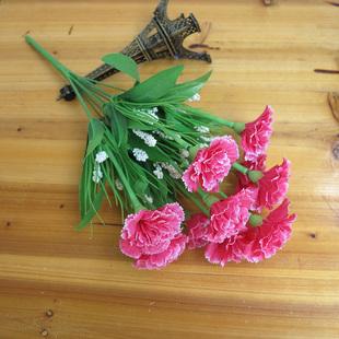 康乃馨仿真花束客厅室内外装饰假花摆件花瓶插花束摆设塑料假花艺