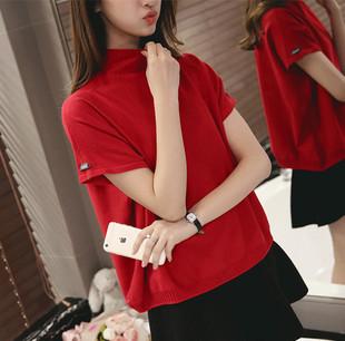 毛衣女2019春夏新款韩版高领袖口标短袖宽松百搭纯色打底衫针织衫