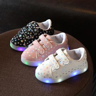 儿童灯鞋宝宝发光鞋春秋款七彩女童LED单鞋带亮灯男童鞋1-3-6岁