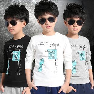 男孩7底童1-15周长袖打岁中大115装白上0纯棉衫9衣衣套头秋男童卫