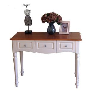 美式家具白色现代简约实木书桌家用儿童学习桌欧式电脑办公桌子
