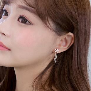 韩生如夏花锆石耳环女925纯银耳针防过敏简约气质后挂式耳钉饰品