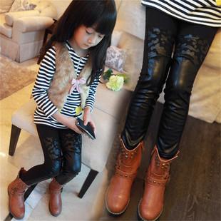 8韩版9中大童皮裤10保暖12女孩裤子-韩版女童皮裤加绒加厚6岁