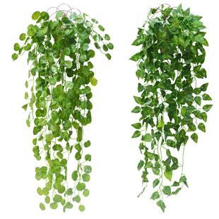 壁挂藤条仿真植物藤蔓装饰花绿植墙吊篮葡萄叶子绿萝叶假花爬山虎