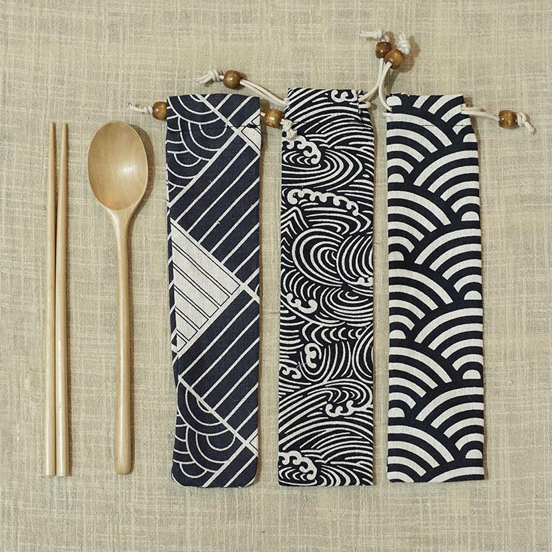 日子里 日式便携筷子勺子布袋装木制餐具套装旅游外带筷勺三件套
