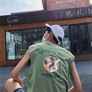 背心男运动宽松坎肩衣服韩版男装夏装韩版无袖印花圆领t恤男潮流