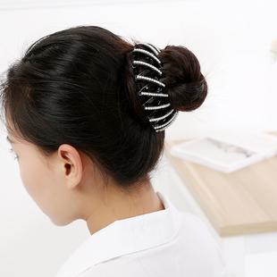 韩国饰品盘发器气质水钻鸟巢马尾扣头饰丸子头苞头发发饰发抓发圈