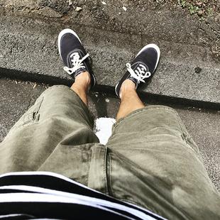 夏装军事风日系潮牌宽松工装短裤多口袋复古做旧五分裤男