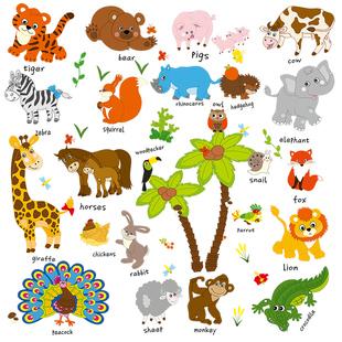 兒童牆貼紙早教嬰兒貼畫啟蒙動物裝飾主題牆上幼兒園環境布置材料