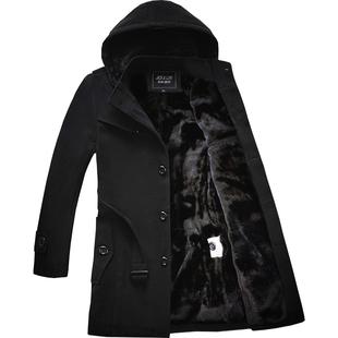 风衣男冬季中长款保暖韩版加绒加厚潮流衣服毛呢外套男士呢子大衣