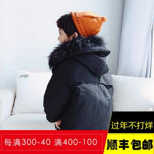 蓝色麦田儿童羽绒服男童中长款2017新款韩版女童潮中大童加厚保暖