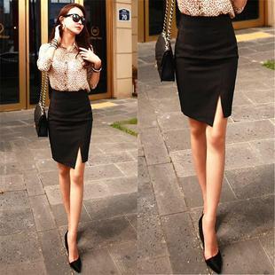 套装短裙夏天职业包裙高腰弹力西装裙显瘦黑色甜美工作女士纯